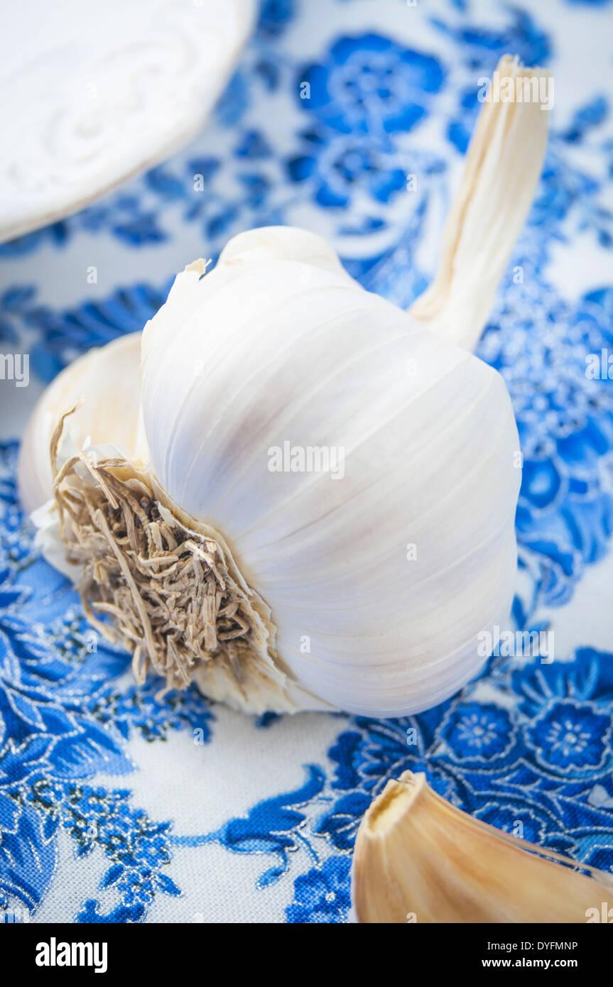 Una vista ravvicinata di un bulbo di aglio sul tessuto blu Foto Stock