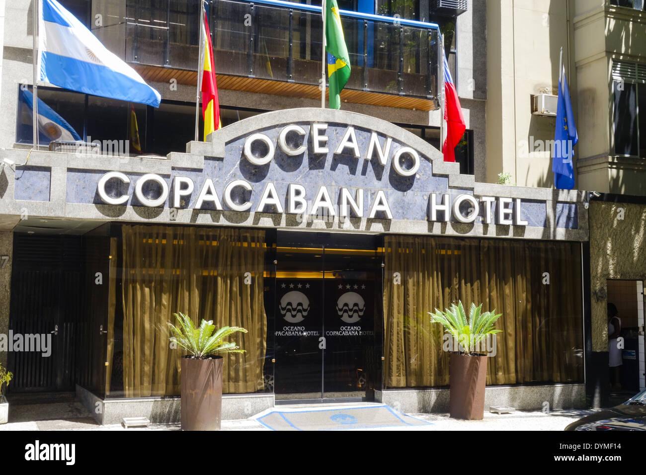 Rio de Janeiro Copacabana, Oceano Copacabana Hotel, Brasile Immagini Stock