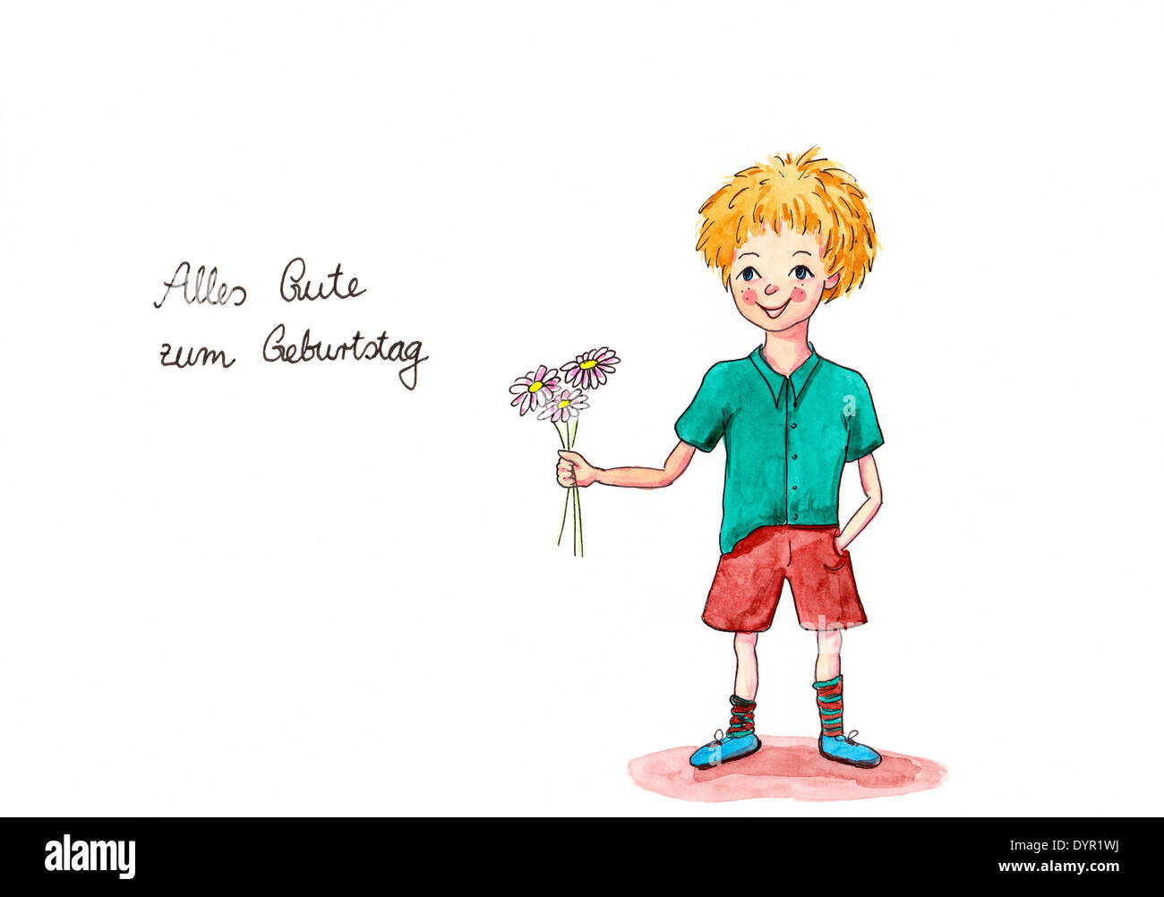 La pittura di boy dando fiori con scritto a mano il testo tedesco