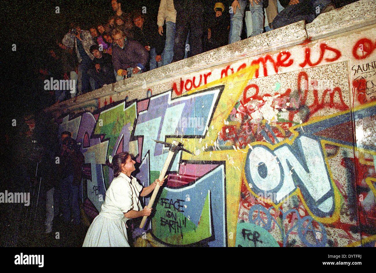 Caduta del muro di Berlino, 1989 Immagini Stock
