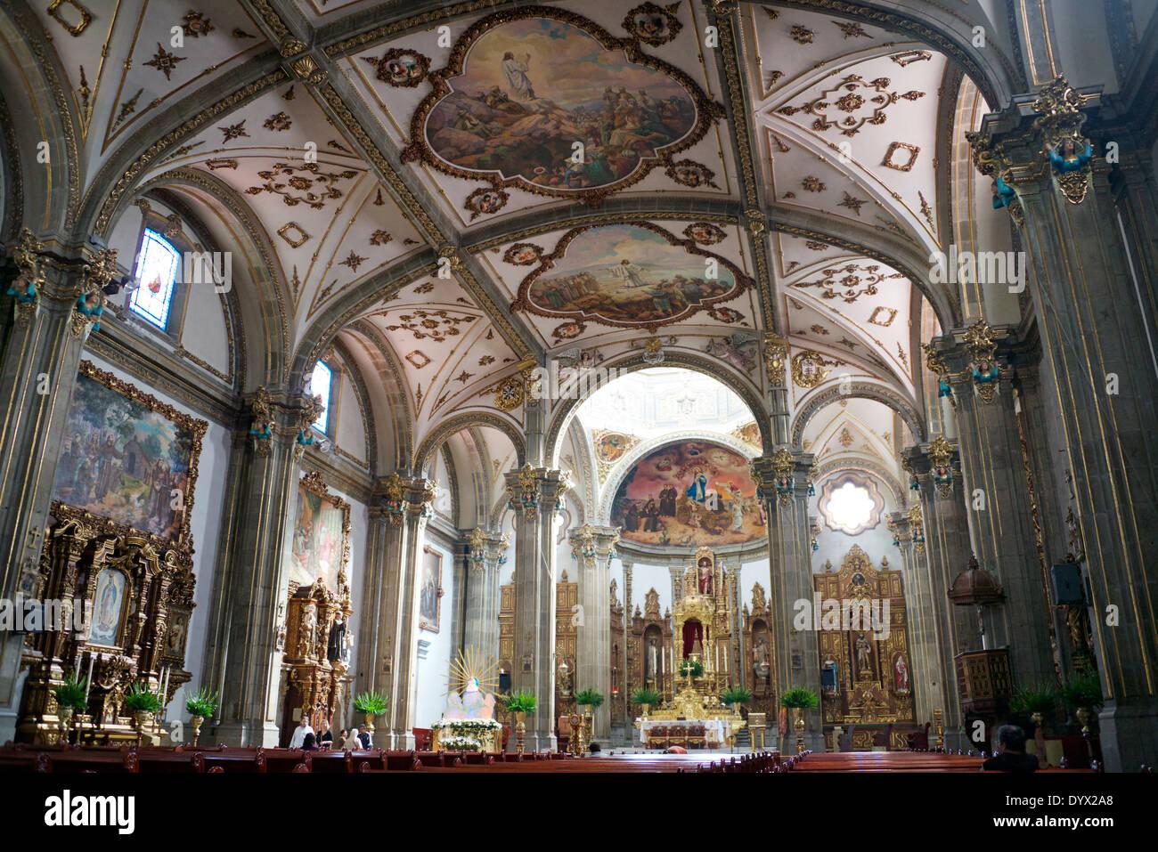 Interno di San Jacinto Chiesa San Angel Città del Messico Mexicof Immagini Stock