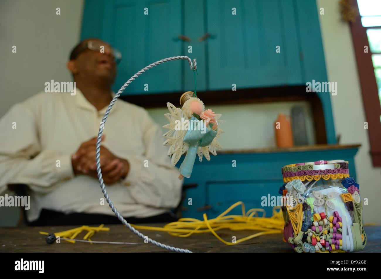 Curliques & le filigrane, un C xix secolo forma d'arte di dimostrazione. Ceneri Lawn-Highland. Casa di Quinto presidente, James Monroe. Stati Uniti d'America Immagini Stock