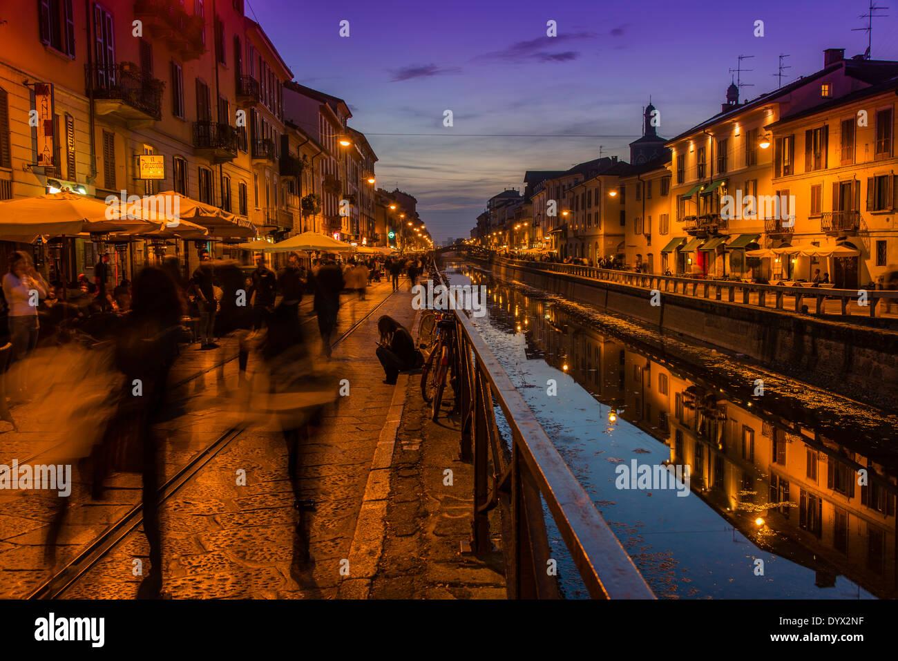 Naviglio Grande canal, Milano, Lombardia, Italia Immagini Stock
