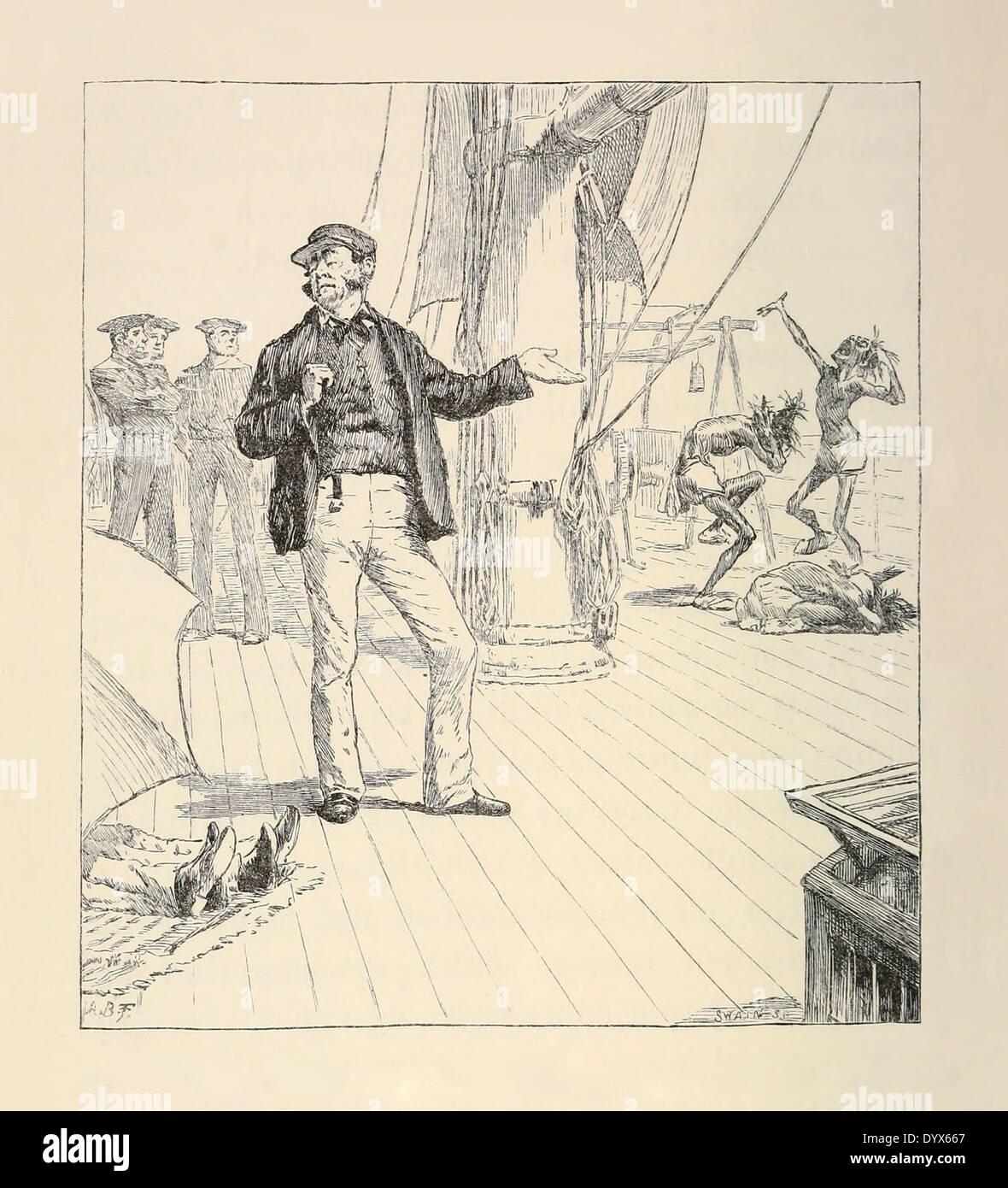 Arthur Burdett Frost (1851-1928) illustrazione da 'un intricato favola' da Lewis Carroll pubblicato 1885. Nodo 4, il Dead Reckoning. Immagini Stock