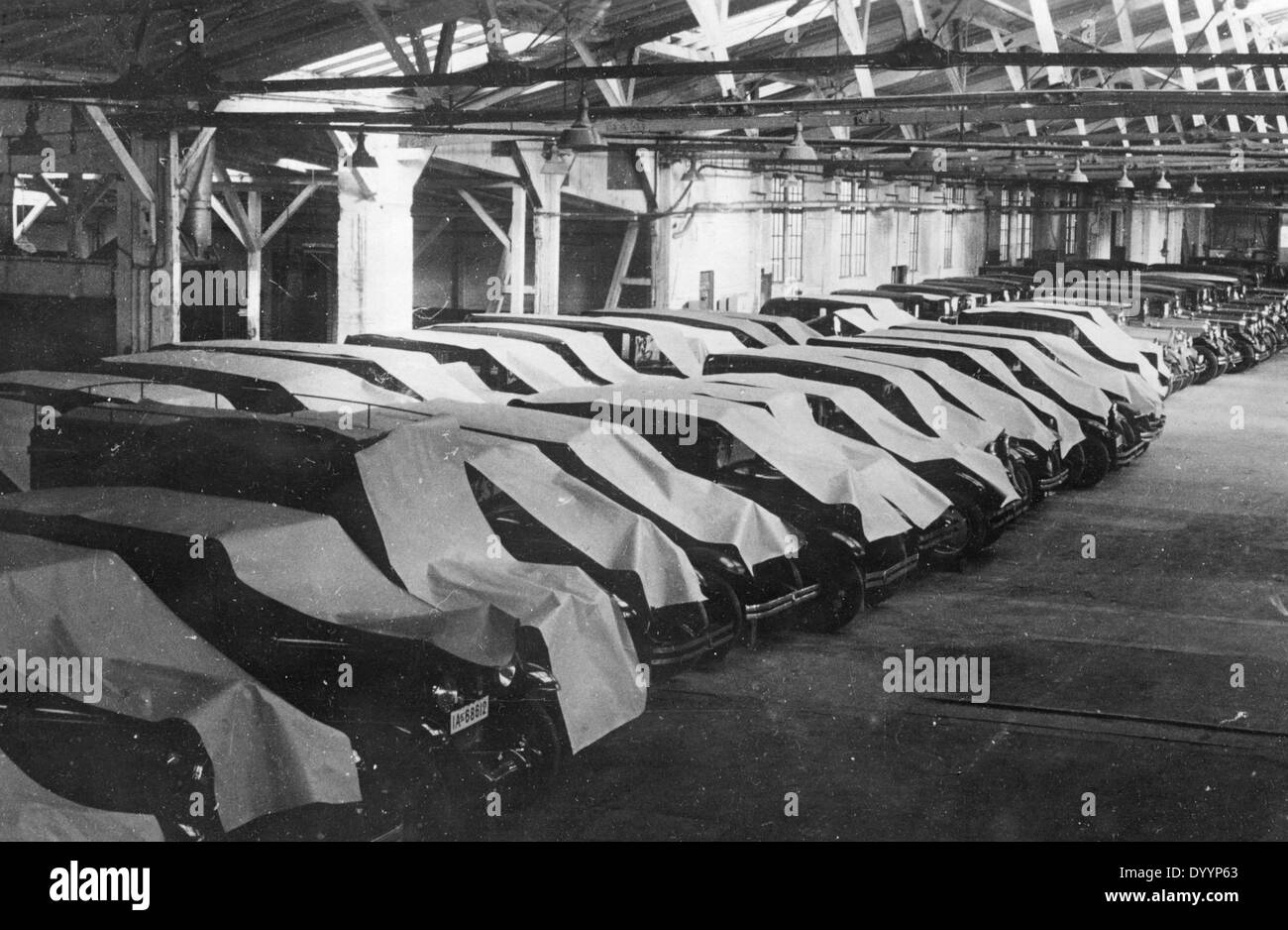 Vista di un parcheggio coperto durante la Grande Depressione Immagini Stock