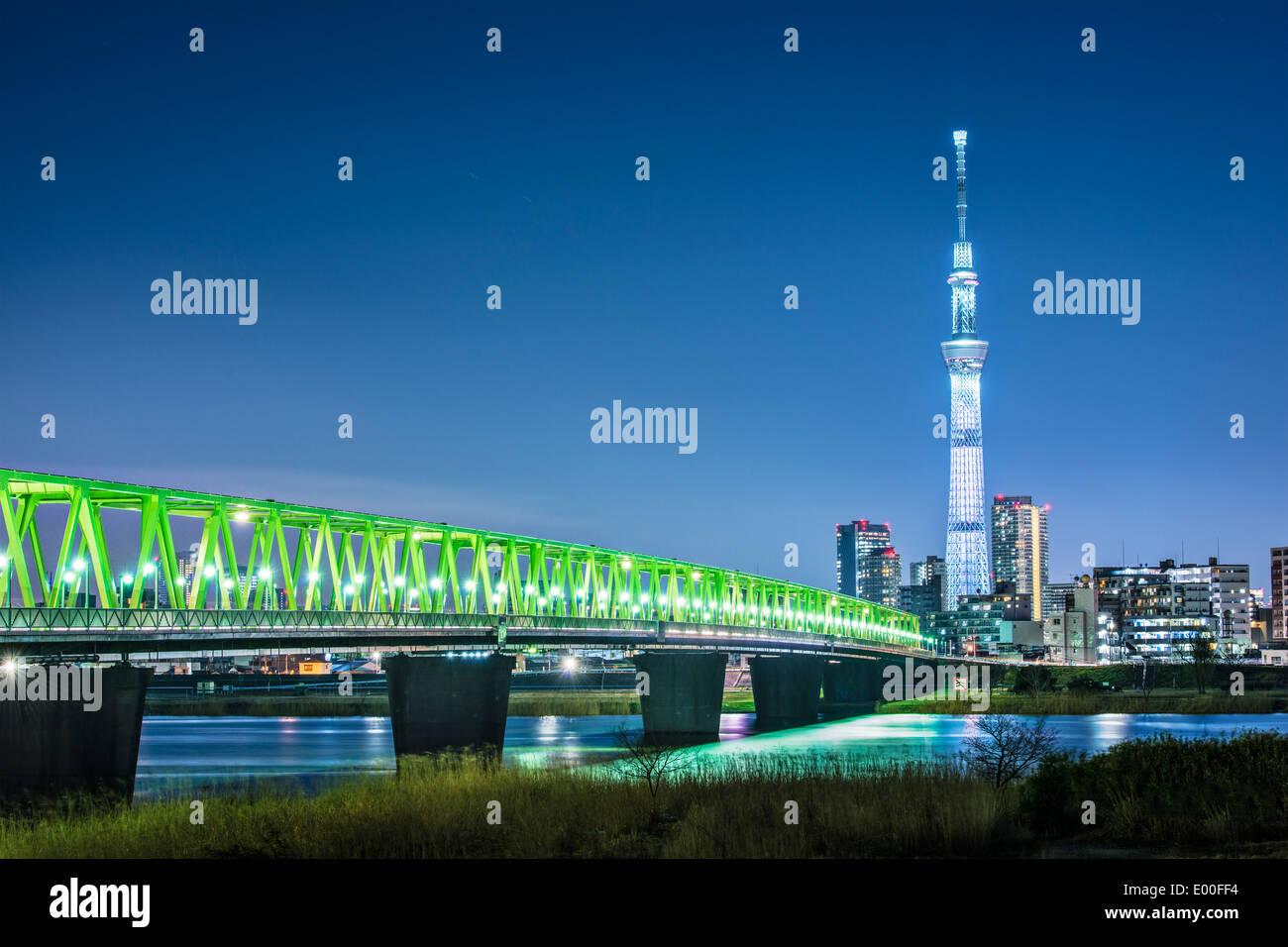 Tokyo, Giappone skyline di Tokyo Skytree. Immagini Stock