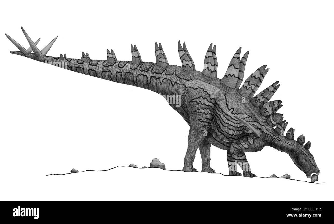 Disegno A Matita Di Tuojiangosaurus Cercando Di Ingerire Piccoli
