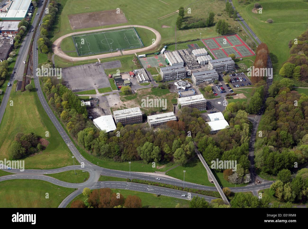 Vista aerea del Glenburn Sports College a Skelmersdale Immagini Stock
