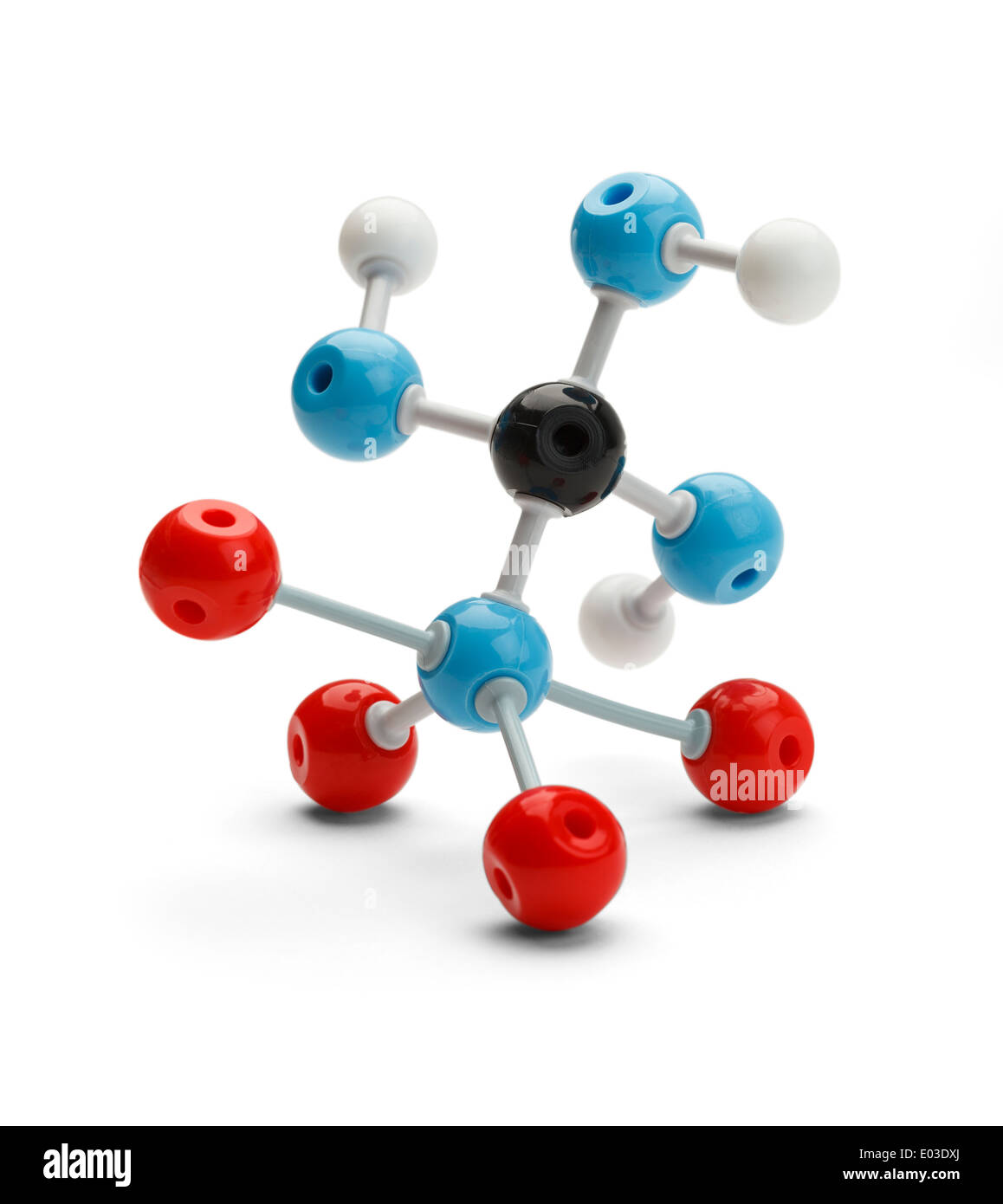 Struttura di molecola isolata su uno sfondo bianco. Immagini Stock
