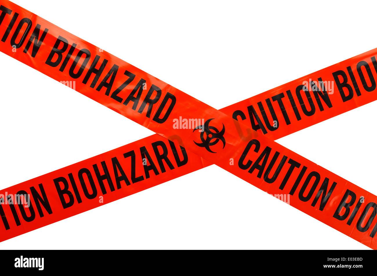 Arancione e nero attenzione nastro Biohazard. Isolato su sfondo bianco. Immagini Stock