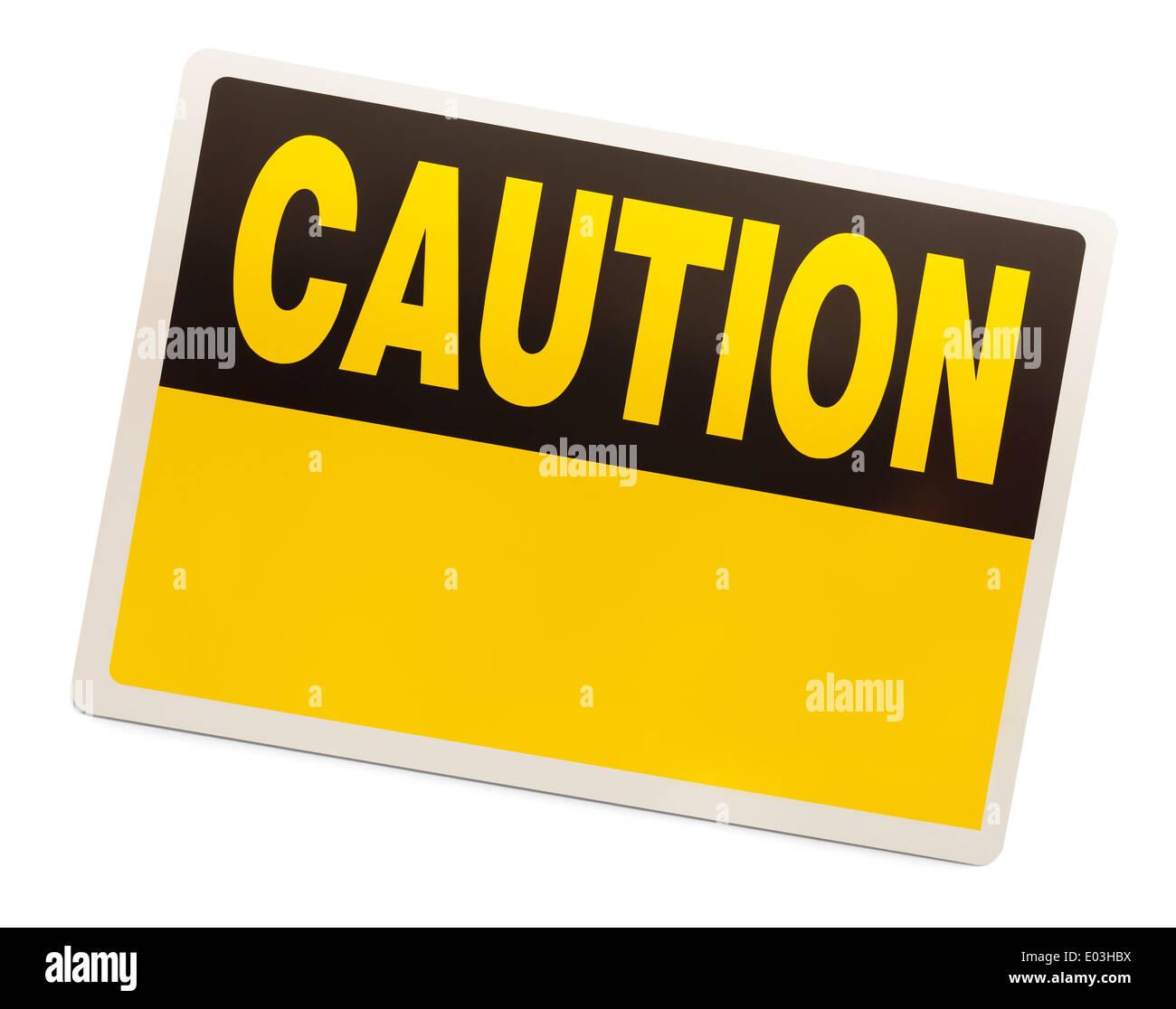 Rettangolo giallo segno di attenzione isolato su sfondo bianco. Immagini Stock