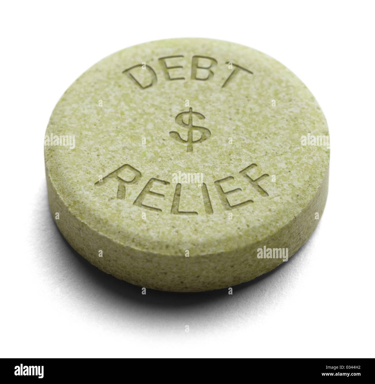 Green sollievo medicina per debito isolato su uno sfondo bianco. Immagini Stock