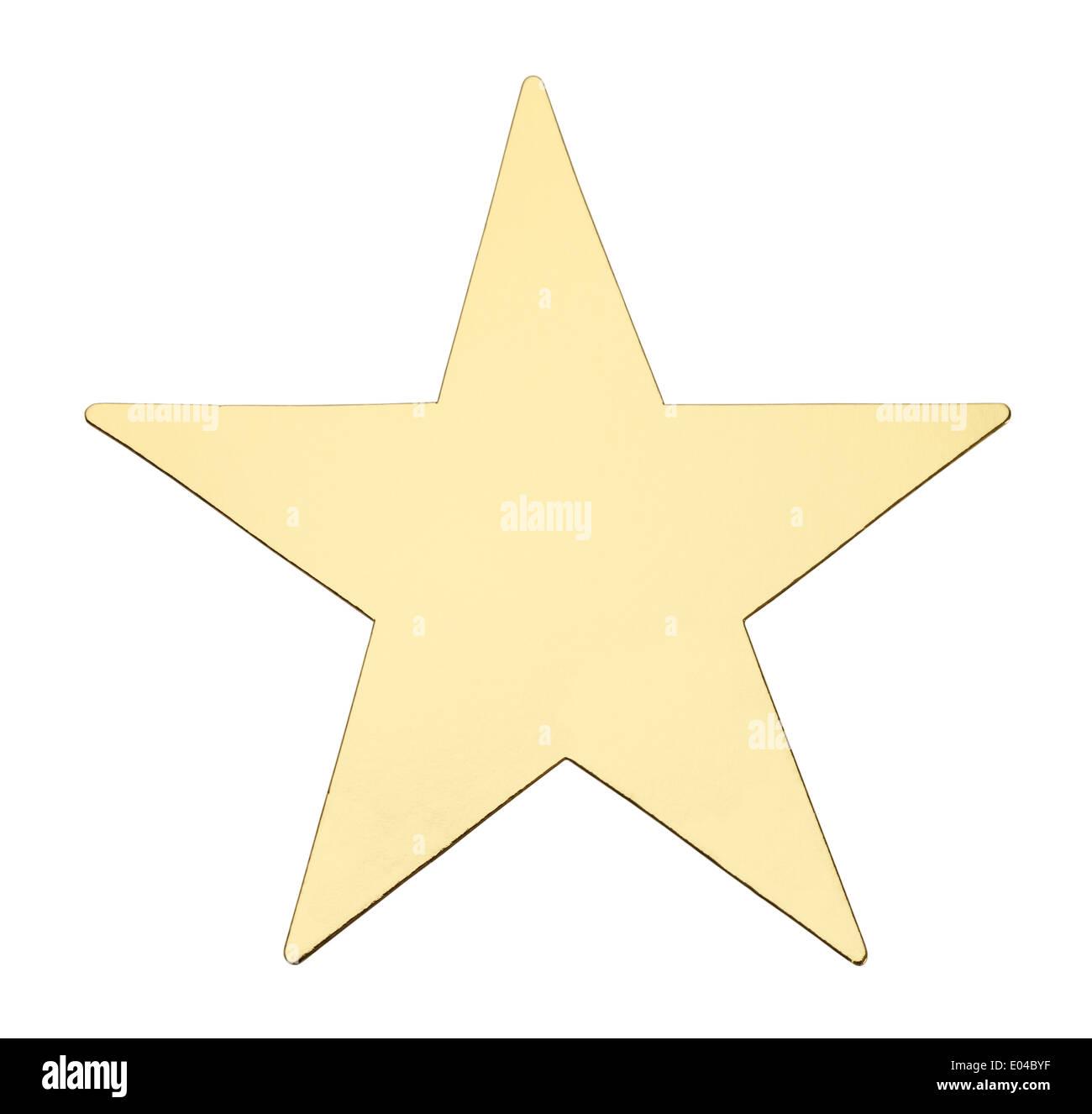 5 punto metallico giallo Stella isolato su sfondo bianco. Immagini Stock