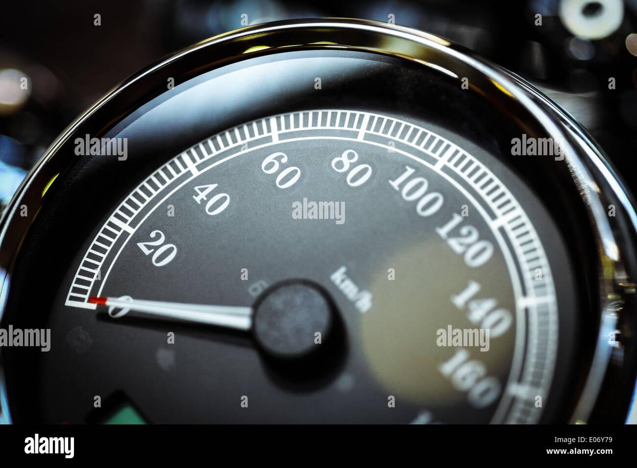 Dettaglio di un tachimetro di un motociclo. Immagini Stock