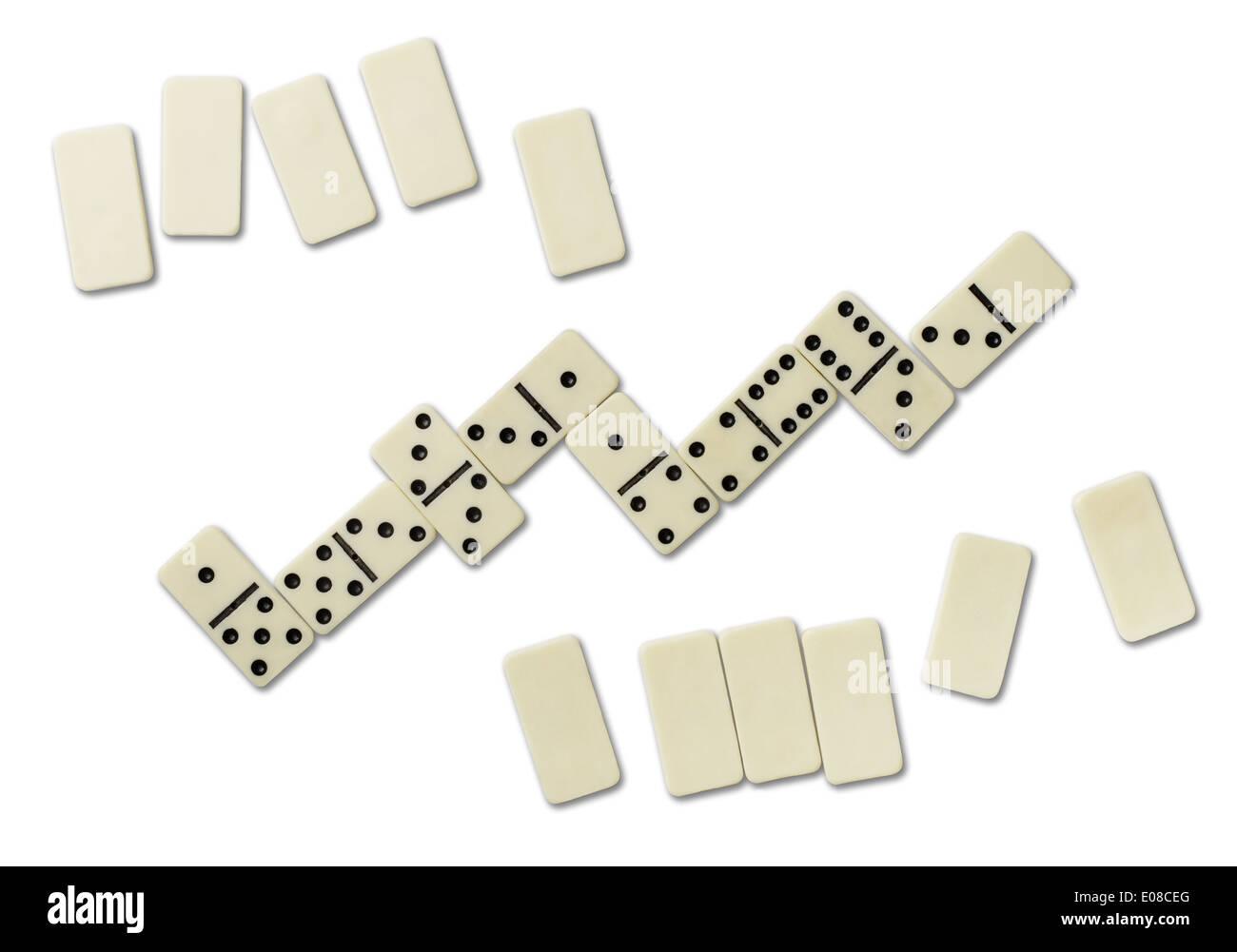 Vista dall'alto di giochi di domino isolato su bianco Immagini Stock
