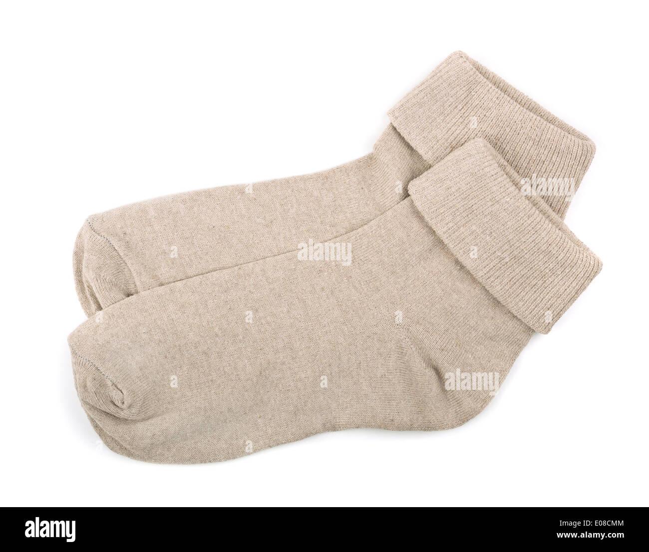 Coppia di grigio calze di cotone isolato su bianco Foto Stock