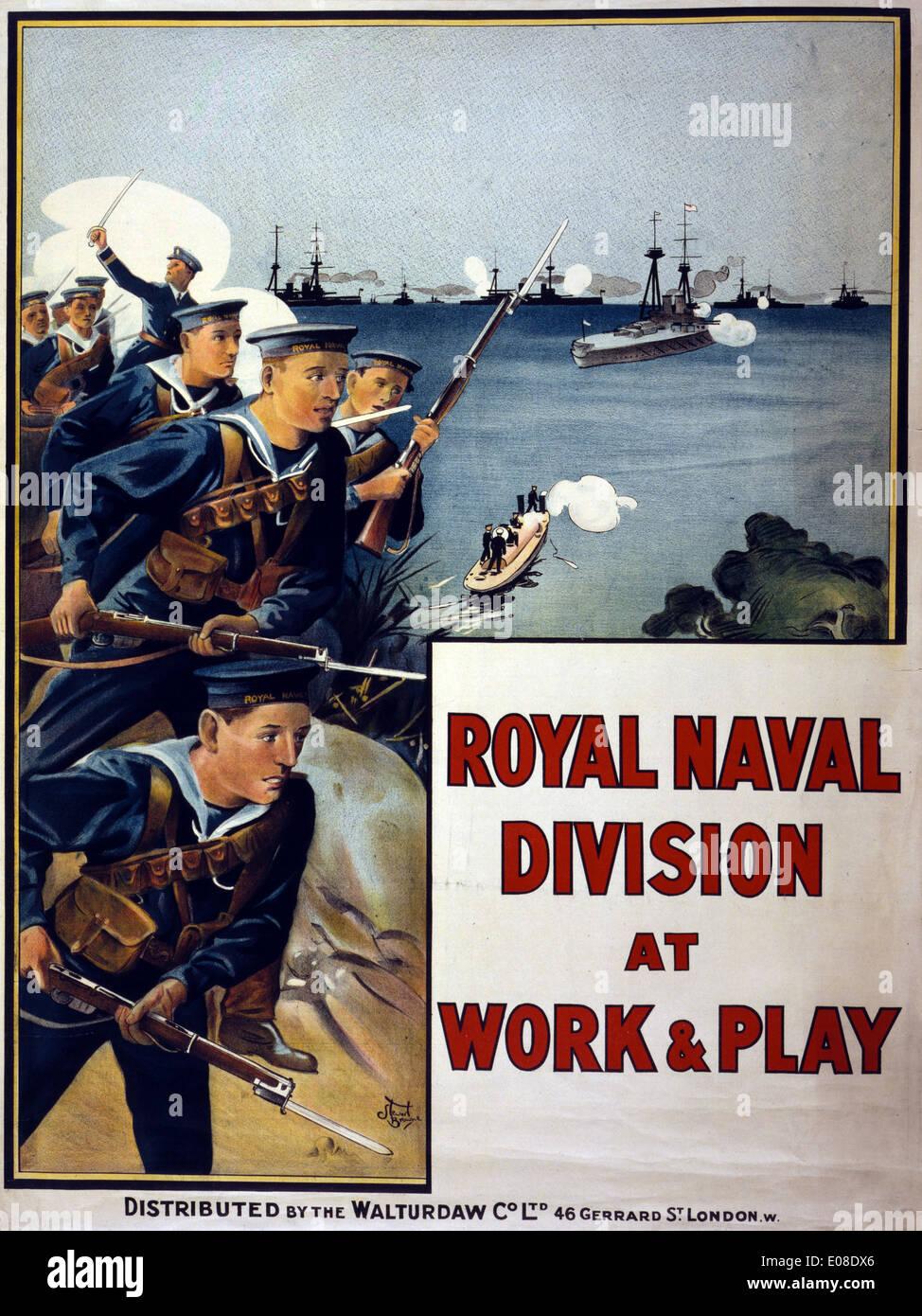 Royal Naval Division poster di reclutamento Immagini Stock