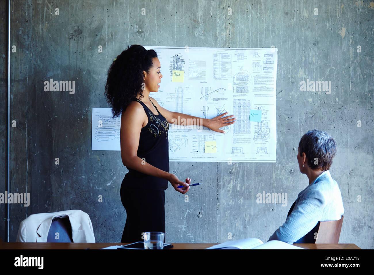 Giovani imprenditrici presentare idee alla riunione Immagini Stock