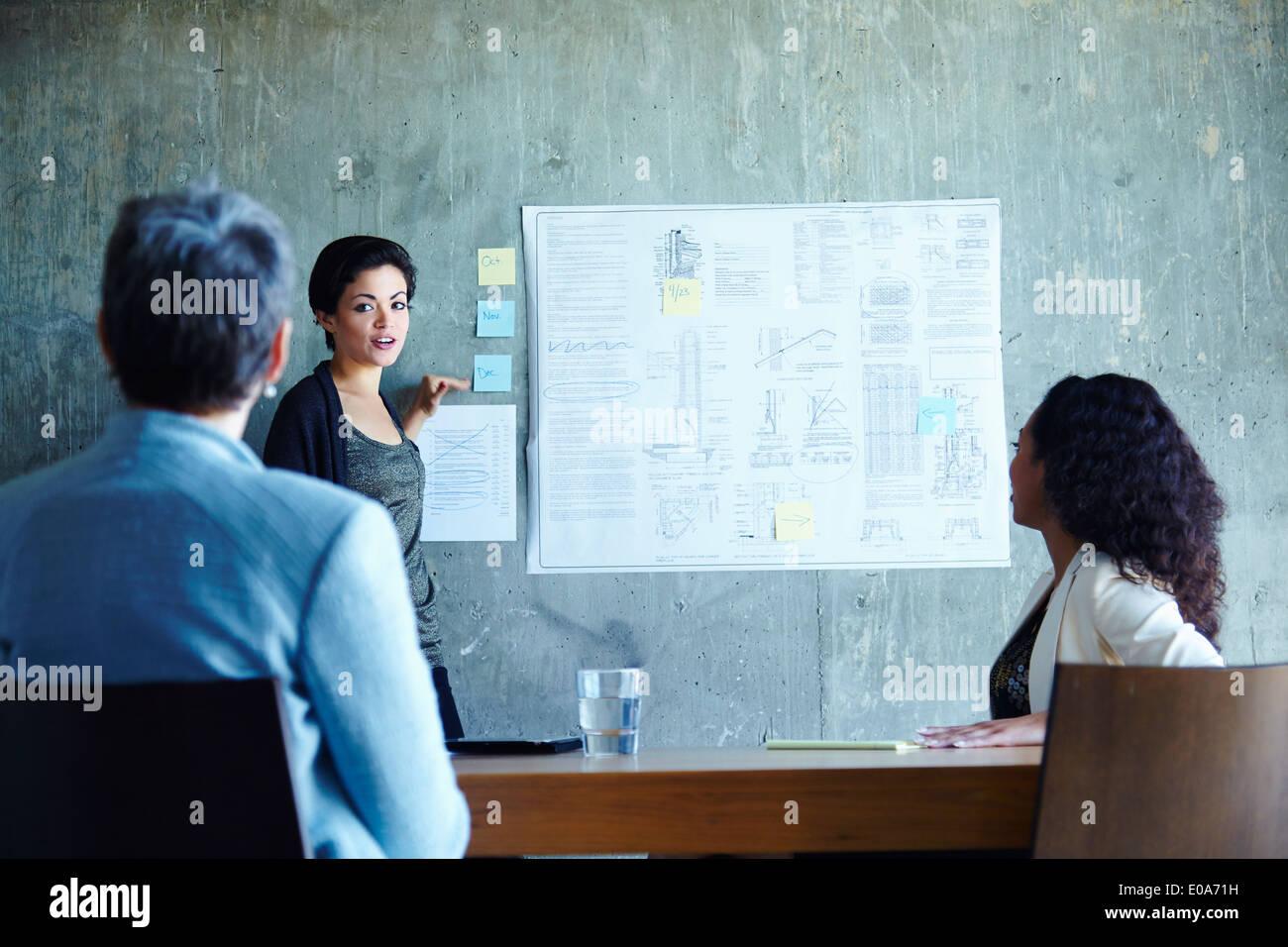 Giovani imprenditrici presentare idee in ufficio Foto Stock