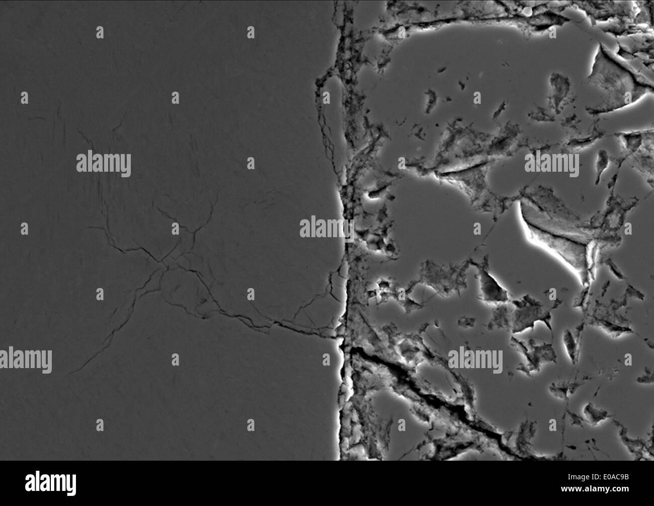 Meteorite trovato a Joshua Tree, sezionata, lucidati, inciso, retrodiffusione SEM Immagini Stock