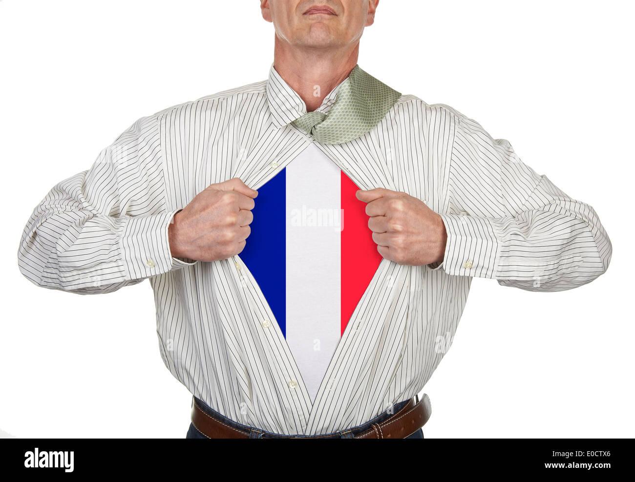 Imprenditore che mostra un supereroe tuta francese sotto la sua camicia, tracciato di ritaglio per fustellato t-shirt Immagini Stock