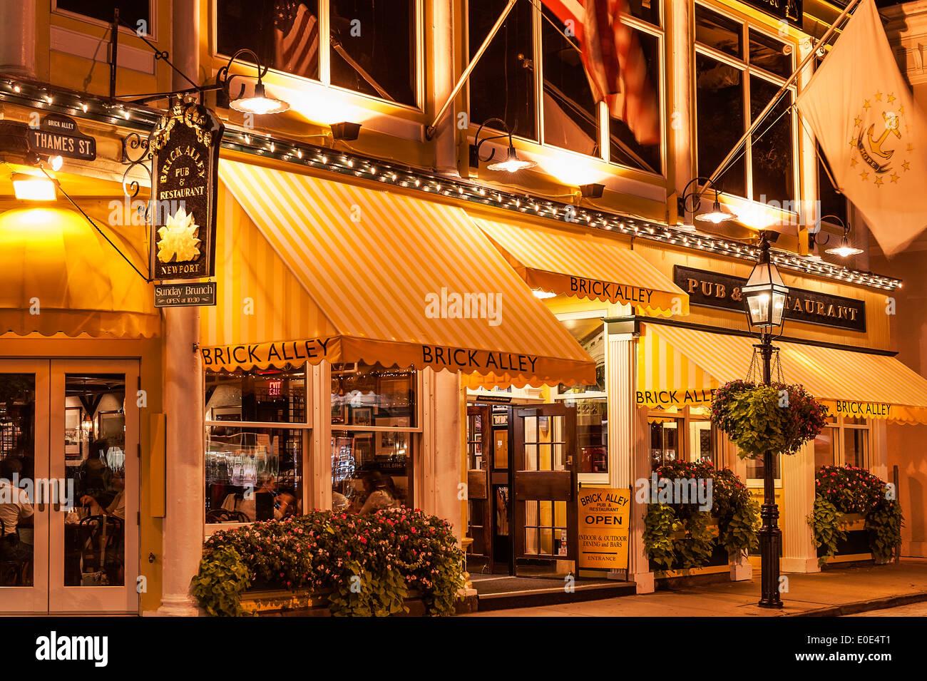 Vicolo di mattoni ristorante, Newport, Rhode Island, STATI UNITI D'AMERICA Immagini Stock