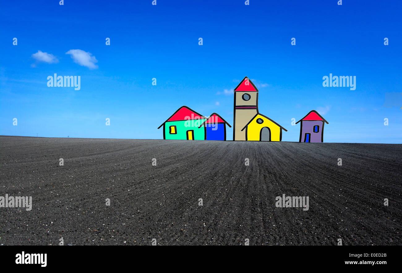 Case di cartoni animati in un campo di nuove case su terreni edificabili concept Immagini Stock
