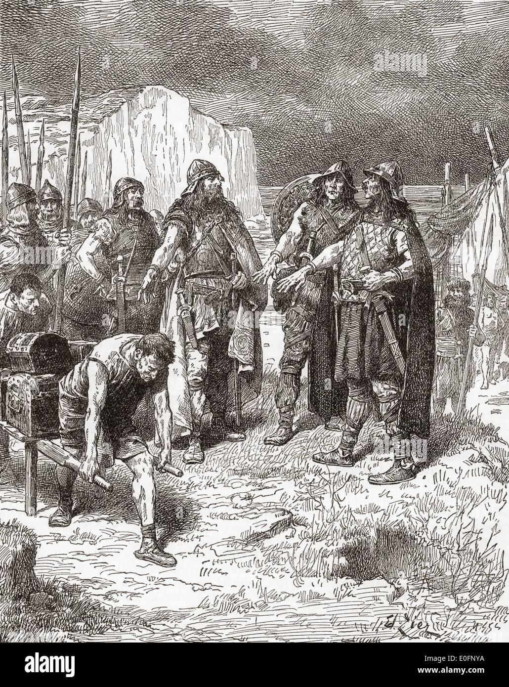 Trattato di Hengist e Horsa con Vortigern, re dei britannici di AD449. Immagini Stock