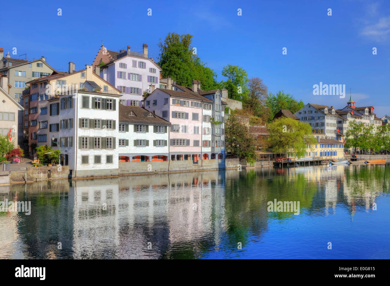Zurigo, Schipfe, città vecchia, Limmat, Svizzera Immagini Stock