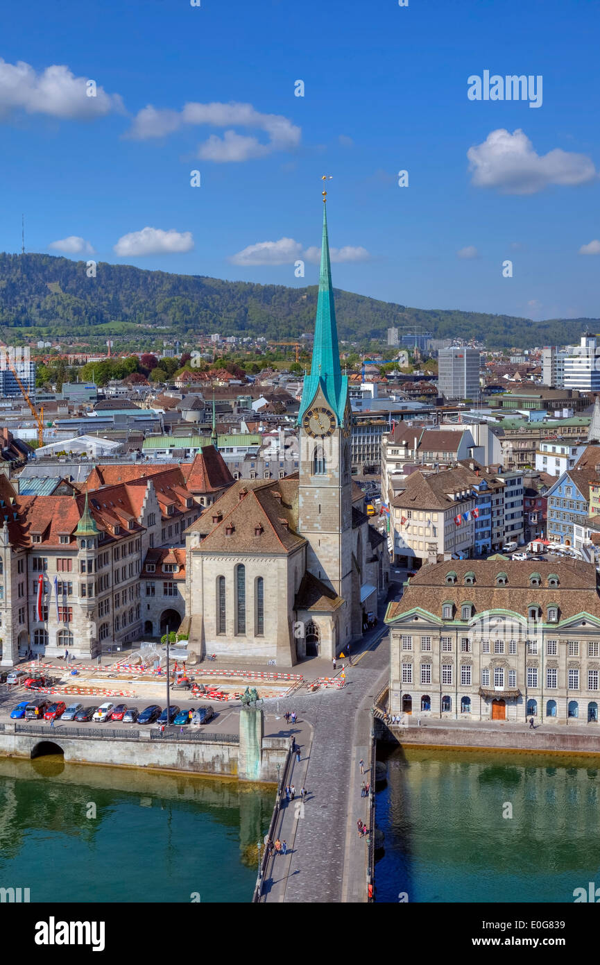 Fraumuenster, chiesa, Limmat, Zurigo, Svizzera Immagini Stock