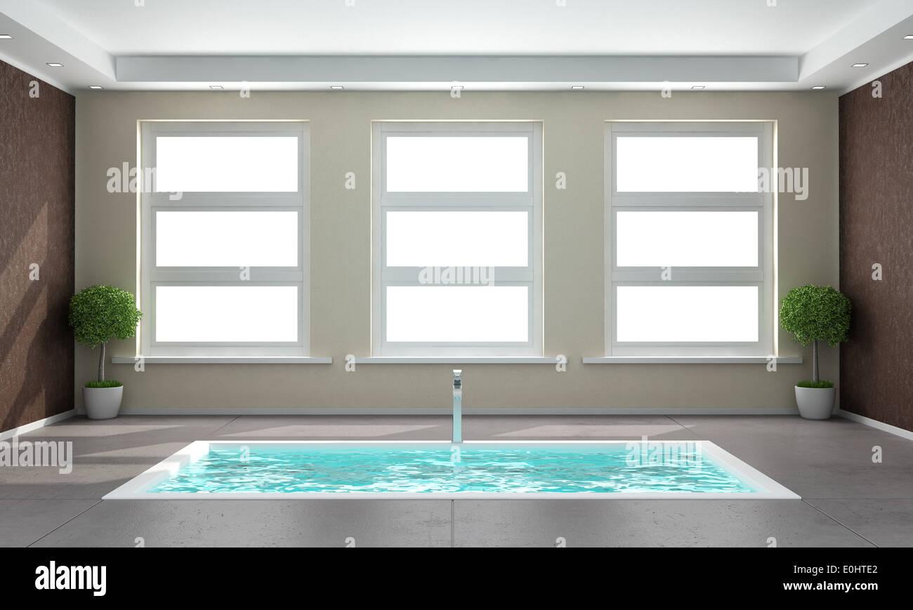 Vasca Da Bagno In Cemento : Minimalista bagno con vasca da bagno incassata nel pavimento di