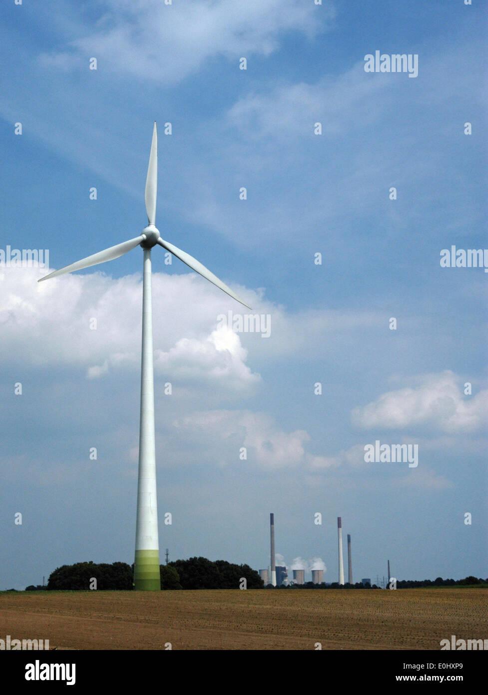 Germania, nei pressi di Colonia, l'energia eolica, la turbina eolica, Deutschland, nahe Köln, Windenergie, Windturbine Immagini Stock
