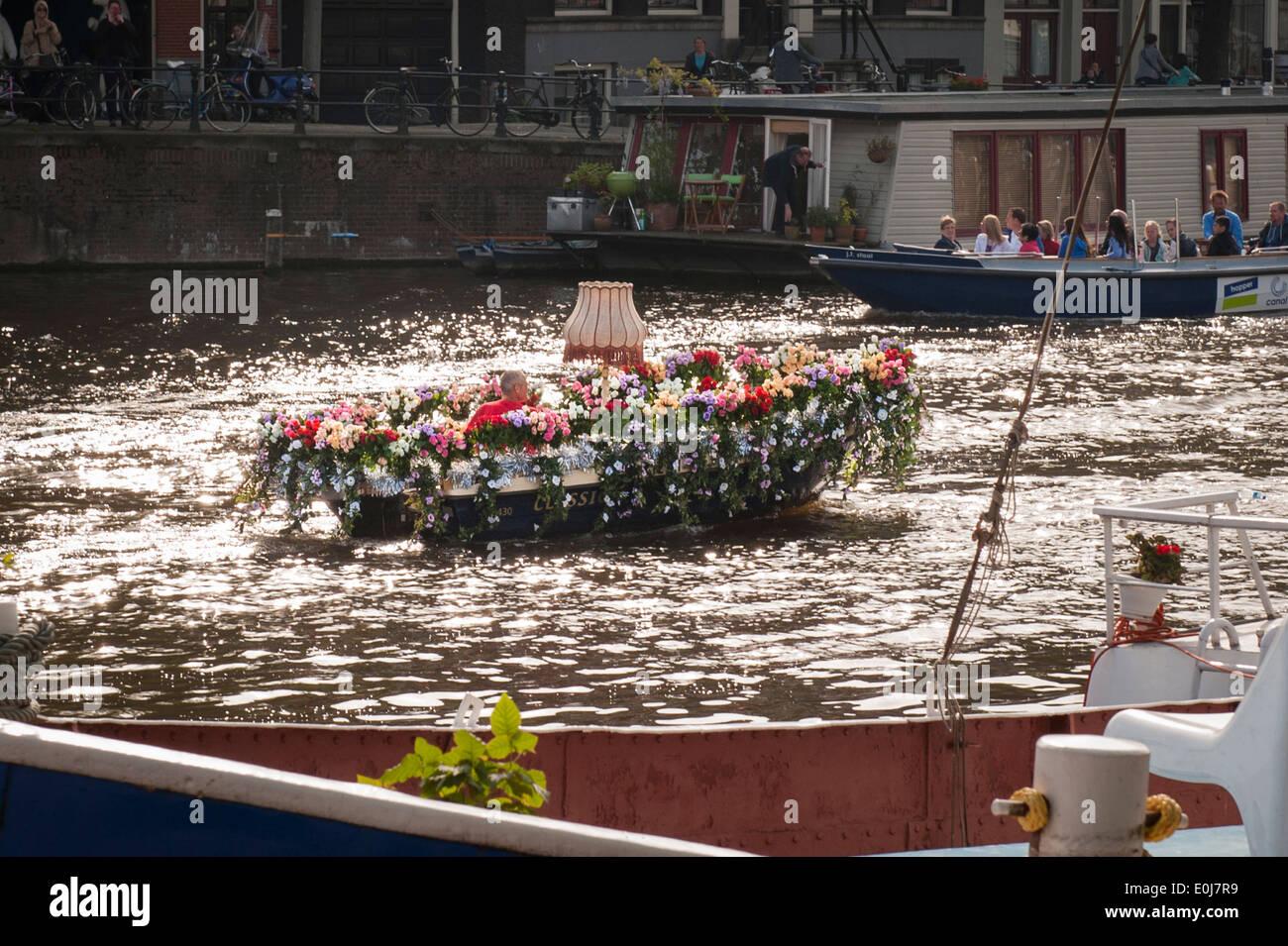 Holland , Paesi Bassi , Amsterdam City , canal imbarcazione a motore di lancio grappoli coperti tulip tutti i colori standard dei colori di luce e ombra Foto Stock