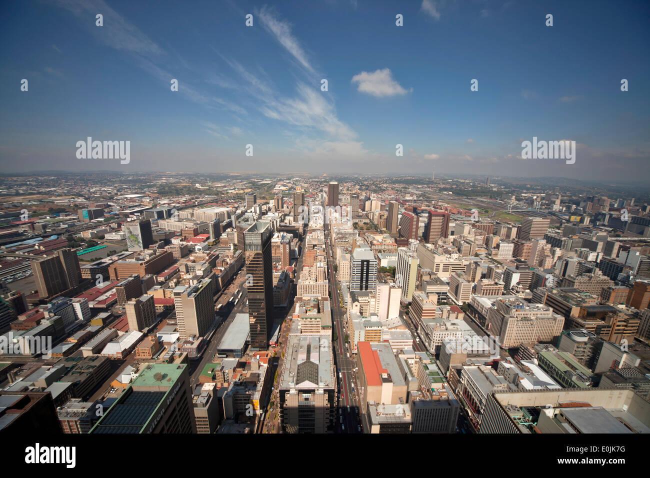 Vista del centro di Johannesburg e il CBD da Carlton Centre Johannesburg Gauteng, Sud Africa e Africa Immagini Stock