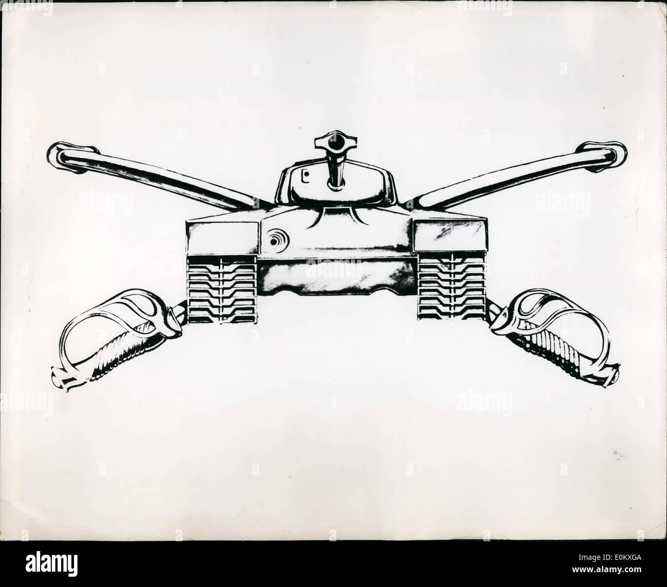 Gen 01, 1951 - Nuovo Stemma dell esercito tutore armor questo è un artista del disegno delle insegne che wile essere adottato dalla blindatura ramo dell'U.S. Esercito. A norma delle disposizioni dell'esercito organizzazione Act del 1960. Il ramo di cavalleria è stato sostituito dall'armatura filiali. Il nuovo design è composta da un aeroporto vista della loro -26 SERBATOIO (versione originale o il serbatoio di Patton) con la pistola leggermente sollevata e sovrapposti a due soldati di cavalleria incrociate sabes in scabbards con taglio edce. Le insegne è color oro Immagini Stock