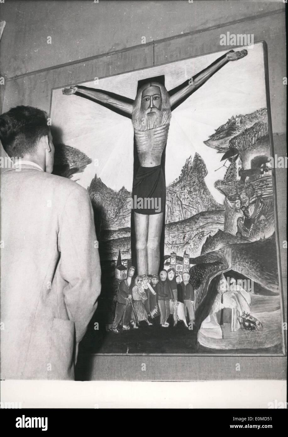 """Sett. 09, 1954 - Arte Religiosa mostra apre a Parigi: ''crocifissione """" da Aristide Caillaud, uno dei dipinti visto all'arte religiosa ora mostra che si terrà presso il museo di arte moderna? Parigi. Immagini Stock"""