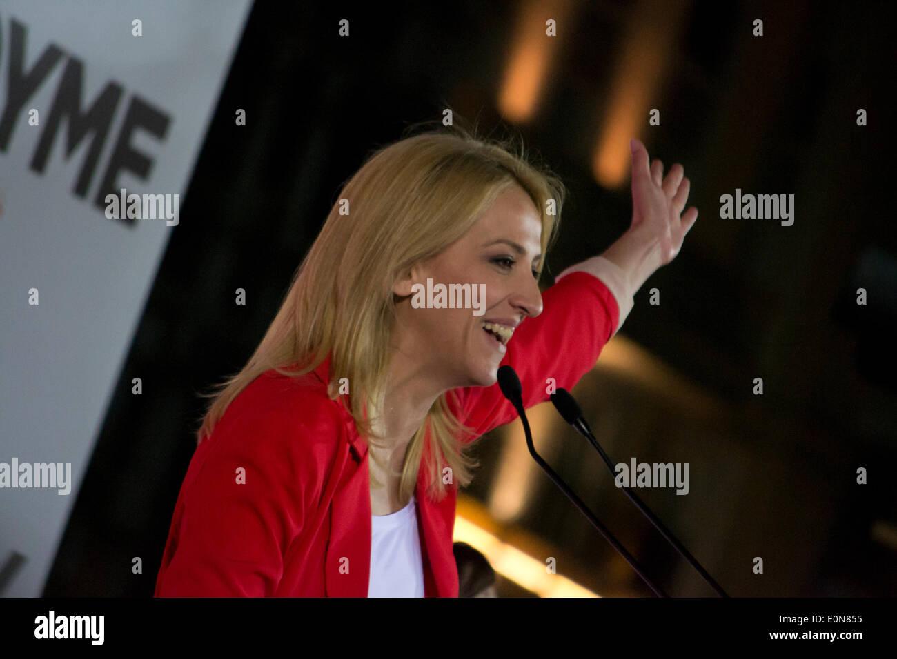 Atene, 16 maggio 2014. Atene, Grecia, Maggio 16th, 2014. Rena Dourou, candidato per la testa della regione Attica, Foto Stock