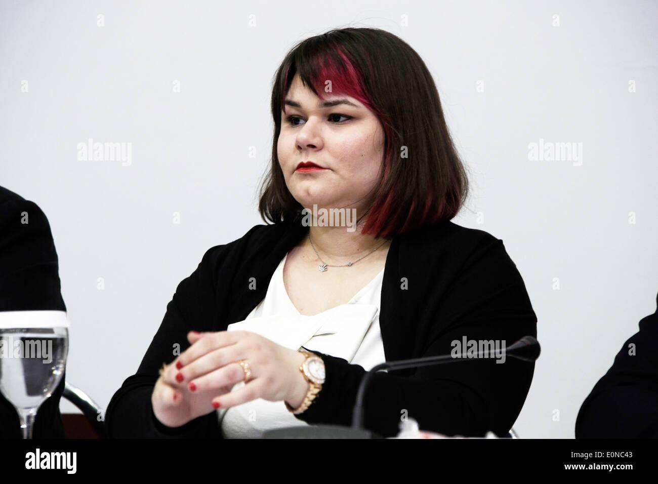 Salonicco, Grecia. 16 maggio 2014. Ourania Michaloliakos, figlia di incarcerato leader della Golden Dawn, Nikos Foto Stock