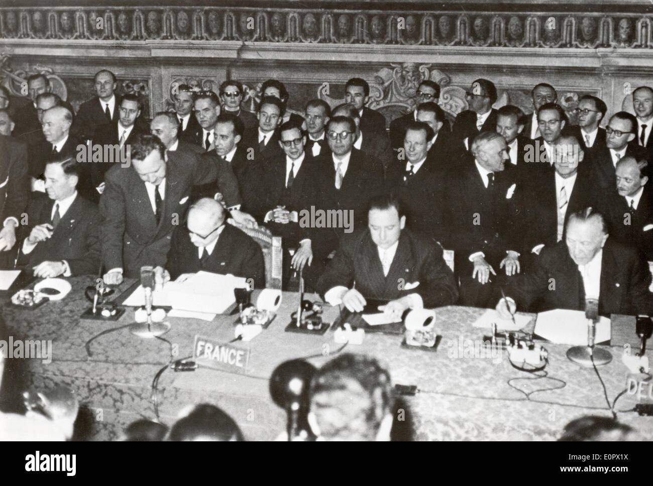 Firma del trattato di Roma Immagini Stock