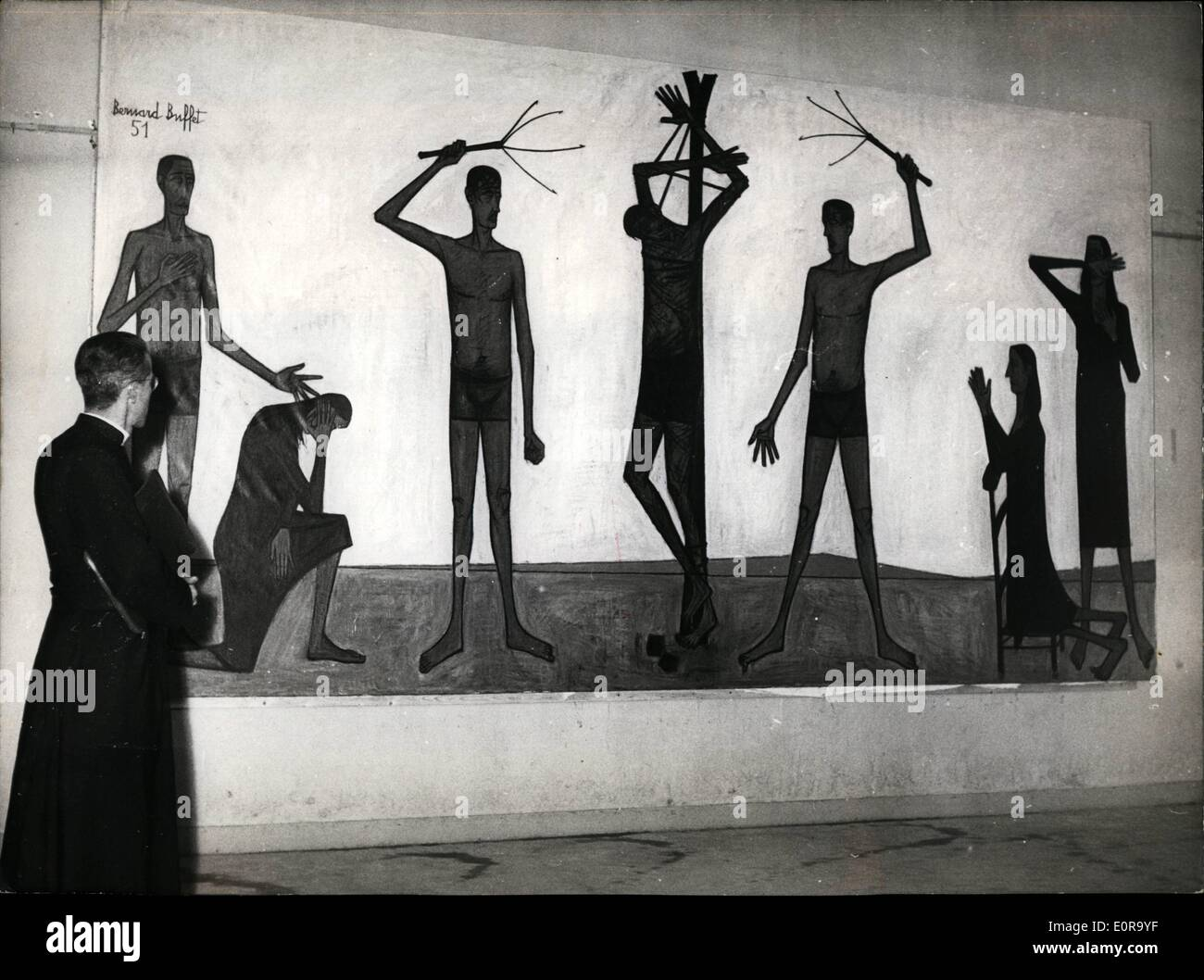 Sett. 09, 1958 - Arte Religiosa mostra apre a Parigi; ''fustigazione'' una foto da Bernard Buffet mostrato all'arte religiosa ora mostra che si terrà presso il Museo di Arte Moderna di Parigi. Immagini Stock