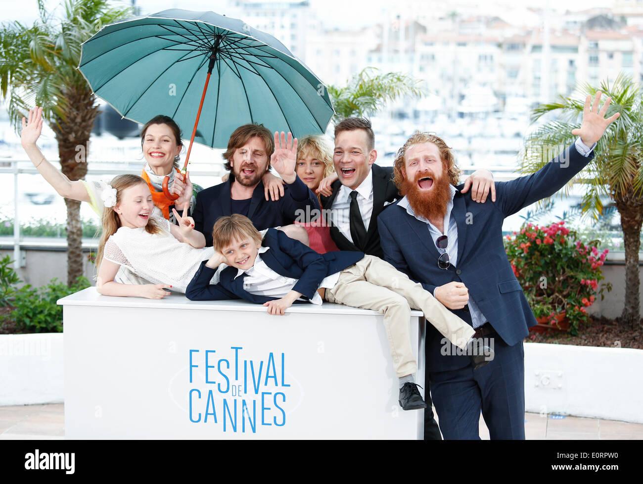 CAST & KRISTOFER HIVJU TURIST. PHOTOCALL. 67ESIMO FESTIVAL DEL CINEMA DI CANNES CANNES Francia 19 Maggio 2014 Immagini Stock