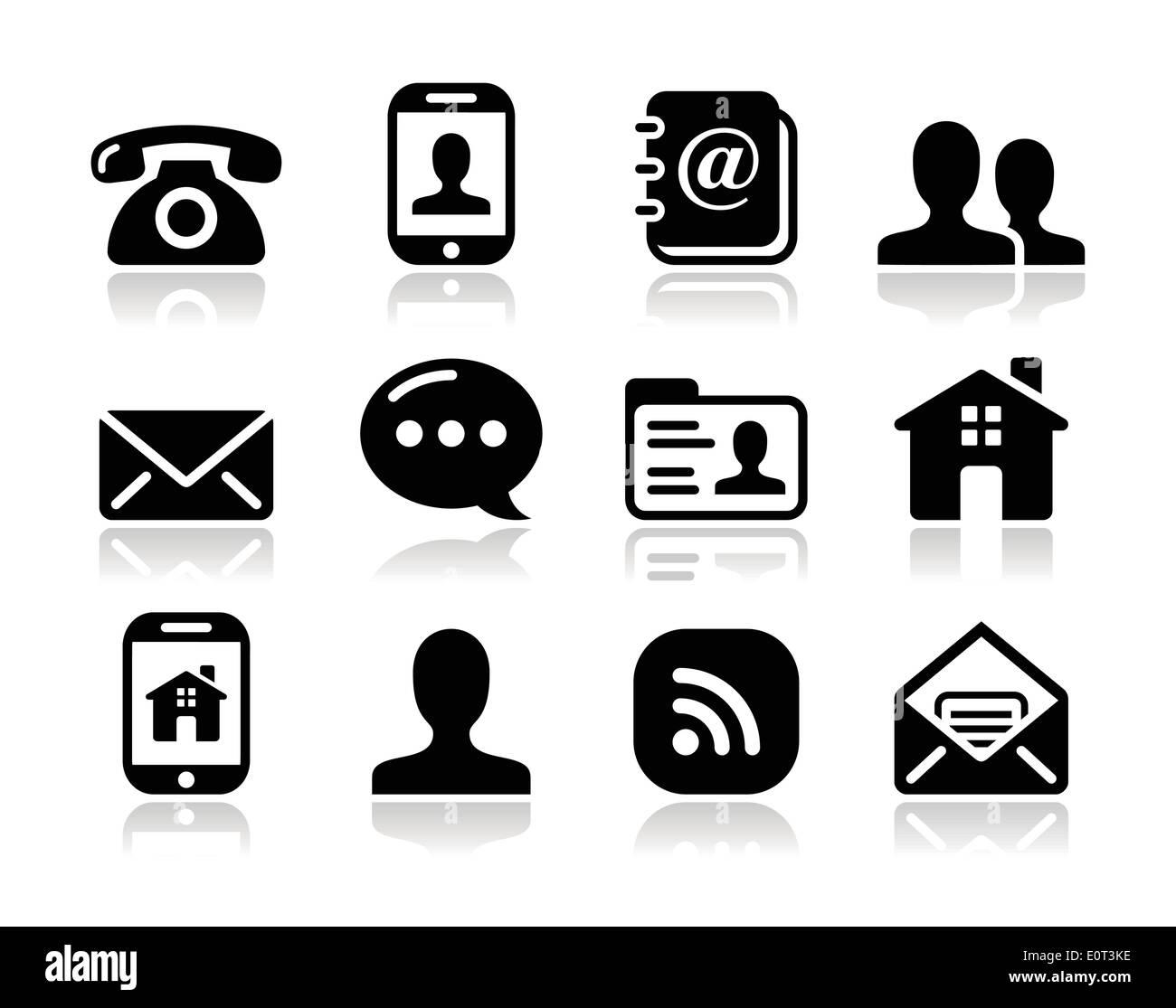 Contattare nero set di icone - mobile, utente, e-mail, lo smartphone Immagini Stock