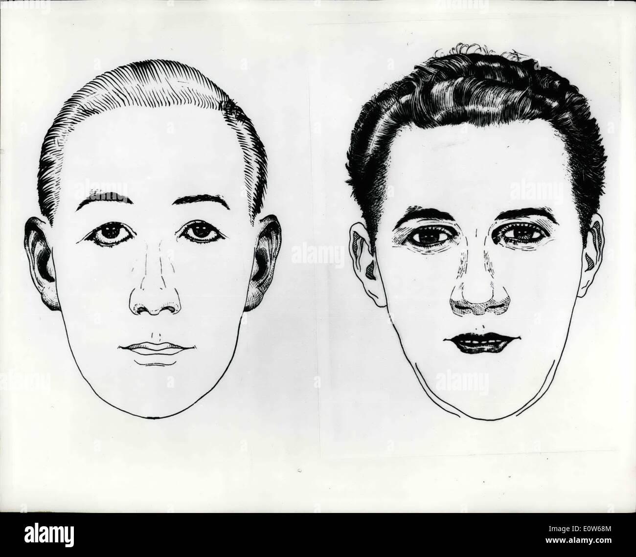 Agosto 08, 1961 - Scotland Yard PROBLEMI DI IMMAGINE UOMO ricercato per un interrogatorio IN CONNESSIONE CON LA A6 uccidendo: Scotland Yard più tardi ha rilasciato oggi un ''l'Identi-Kit'' immagine dell' uomo che cercano in connessione con l' assassinio di un automobilista sulla autostrada A6 la scorsa settimana. L'immagine prodotta da uno speciale kit americana, era ''perforato'' insieme dalla descrizione data da una ragazza che è stato girato e tremendamente ferito dalla pistolero. La foto mostra: l'identi-kit foto dell'uomo ricercato per un interrogatorio da Scotland Yard. Immagini Stock