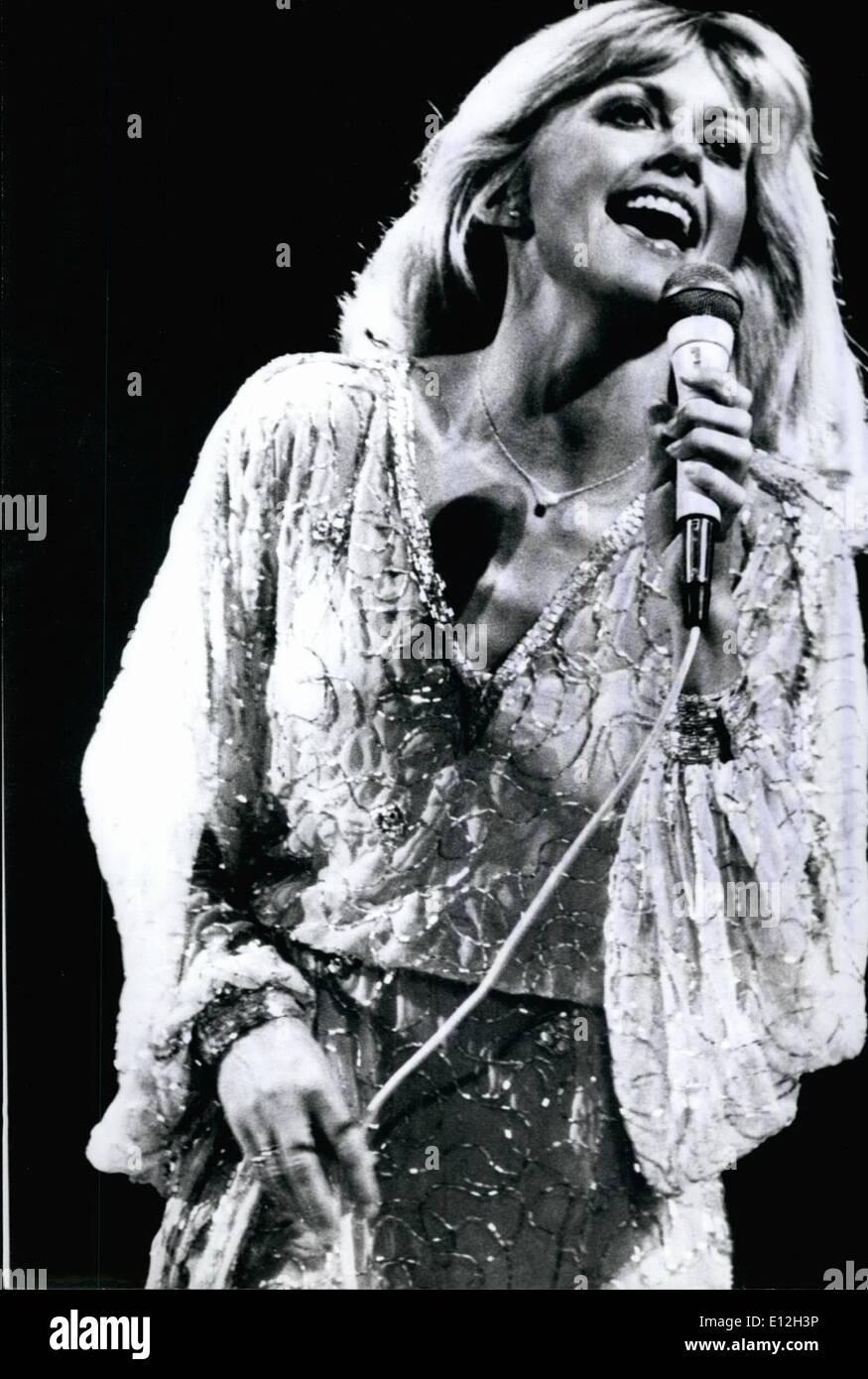 Gen 03, 2012 - Olivia Newton-John diede il suo debutto in Occidentale-germania: La prima apparizione in Occidentale-germania di Olivia Newton-John, la nuova stella DA STATI UNITI D'AMERICA, hanno avuto luogo in questi giorni a congressi centro di Amburgo. Il partner del pubblico-favourite John Travolta intendono arruolarsi con la sua prima mostra in Occidentale-germania per il paese americano- e popmusic e per il suo nuovo film ''grasso''. Mostra fotografica di Olivia Newton-John durante il suo show in Hamburg/Occidentale-germania, che ha avuto luogo nella cornice di una Europa tour americano di star. Immagini Stock