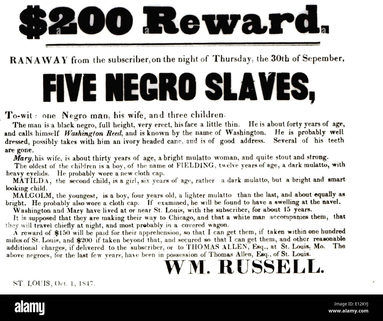 RUNAWAY SLAVE manifesto del San Luigi 1 Ottobre 1847 Immagini Stock