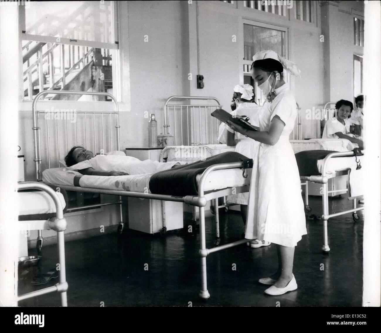 Febbraio 29, 2012 - ragazze tribali di treno come ostetriche: una volta timido, timido ragazze tribali sono trasformate in fresco, efficiente ostetriche in Kuching General Hospital. Essi ritorneranno alle loro della tribù longhouses comunale per aiutare a ridurre il tasso di mortalità infantile. Questa nei controlli di una cartella paziente in reparto durante il suo turno di dazi. Jungle ragazze addestrato come ostetriche in Sarawak esperimento ospedale di successo con i primi due significherà 100 un anno schema per ridurre il tasso di mortalità infantile nella giungla longhouses: Dr Immagini Stock