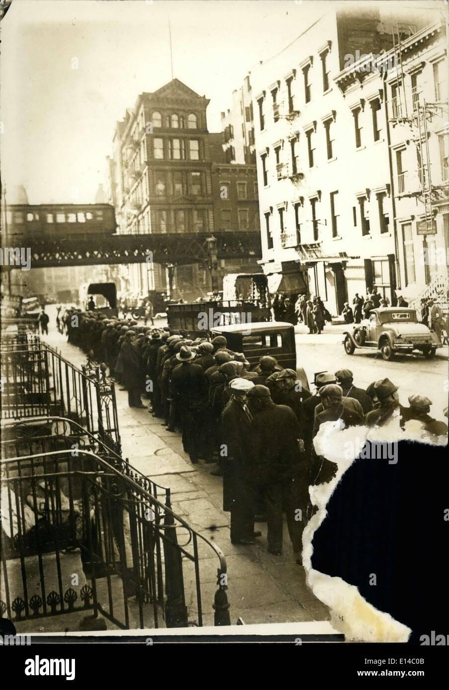 Apr. 17, 2012 - Grande Depressione- linea di alimenti per New York di disoccupati. Immagini Stock