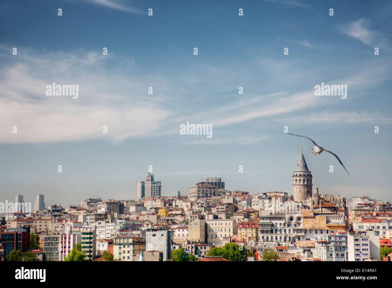 Istanbul skyline della città sotto il cielo blu, Turchia Immagini Stock