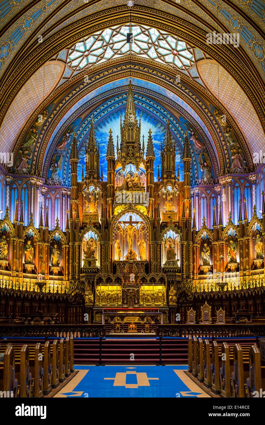 La Basilica di Notre Dame interno a Montreal, Quebec, Canada. Immagini Stock
