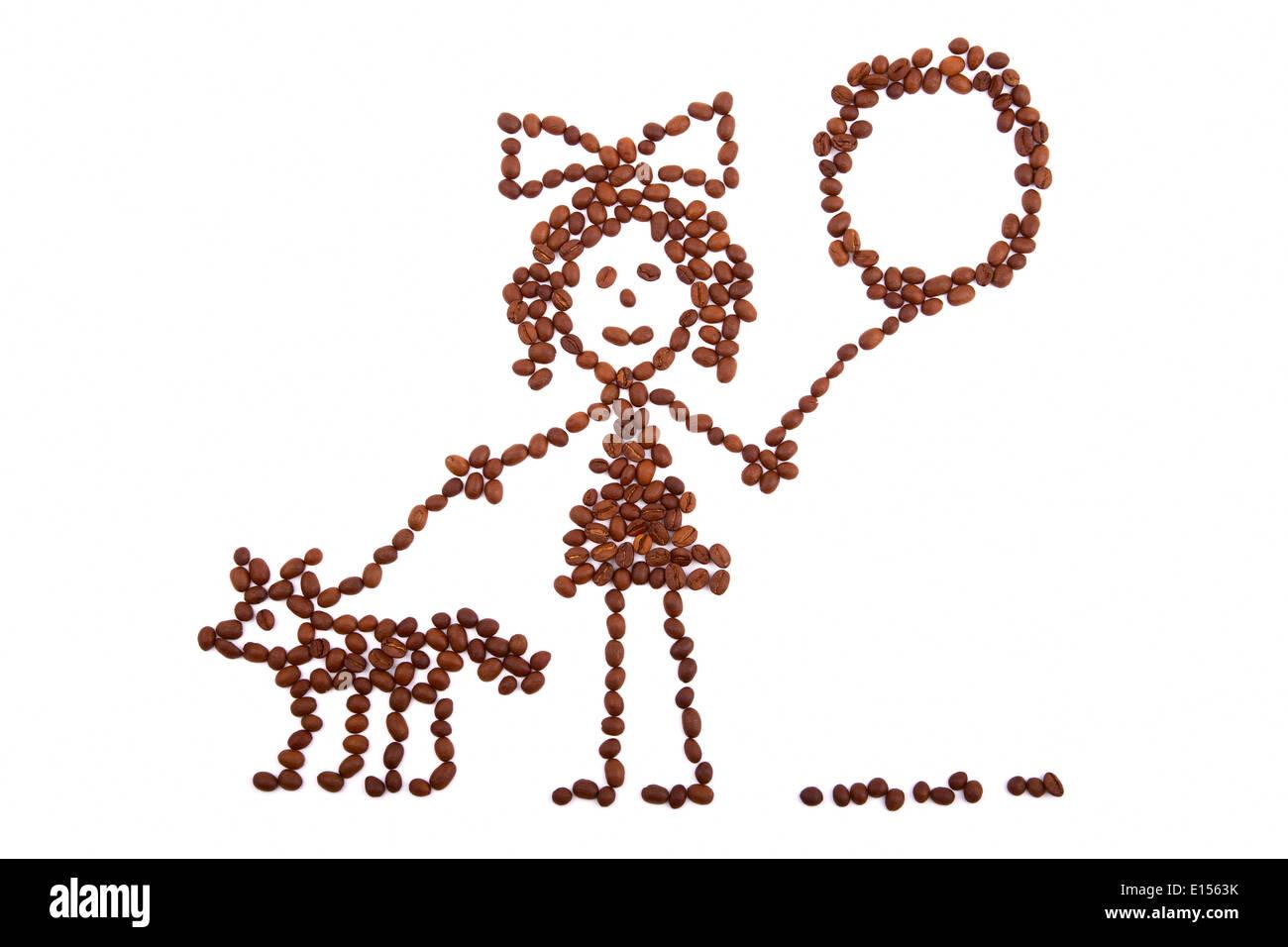 Bambini Ragazza Di Disegno Con Un Palloncino A Piedi Con Un Cane Da